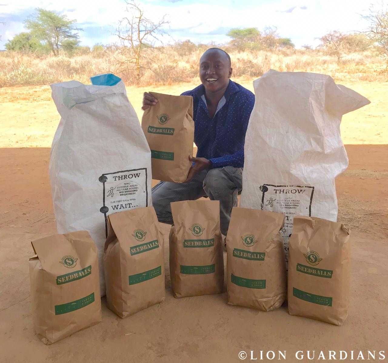 We offered seedballs to the Lion Guardians organisation in Kenya